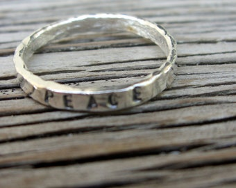 Fine silver hand stamped  stacking ring PEACE ready to ship- one stacker ring