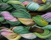 Pure wool yarn worsted weight, hand dyed gray, pink, yellow and green