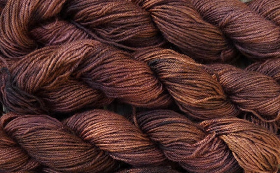 Pure wool  yarn, sport weight --- hand dyed brown, 3 skeins