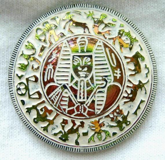 LG Czech Glass Zodiac Button - Orange Pink Yellow Mirror Back Egyptian Pharaoh w/ White Wash