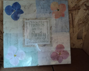 Friends needlepoint family saying cross stitch in frame