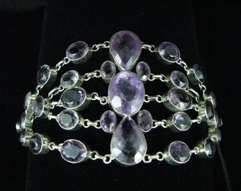 Stunning Ameythst crystal sterling silver bracelet. Aquarian Show Stopper