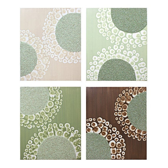 Modern Canvas Art - Extra Large Painting - Original Art Triptych 83X24 - Green and Brown Wall Art - IN STOCK