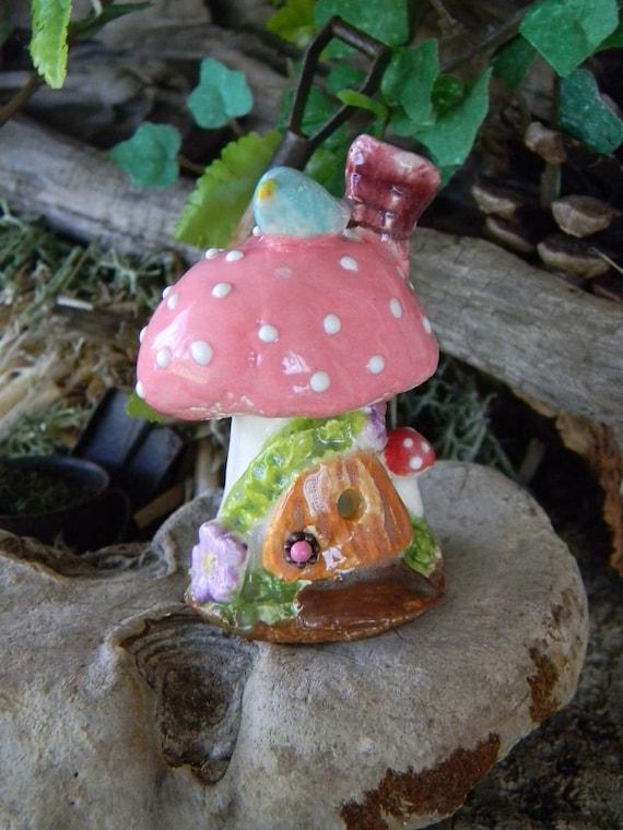Mushroom Fairy   House Miniature Clay Ceramic Pottery terrarium....Pink Blue Bird on top