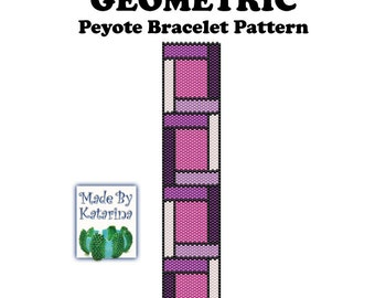 Peyote Pattern - Geometric - INSTANT DOWNLOAD PDF - Peyote Stitch Bracelet Pattern
