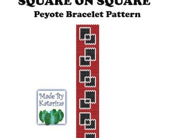 Peyote Pattern- Square on Square - INSTANT DOWNLOAD PDF - Peyote Stitch Bracelet Pattern - Geometric Pattern - One Drop Even Peyote