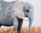ORIGINAL folk PAINTING elephant Folk painting elephant folk Elephant painting primitive elephant painting primitive animal painting for him
