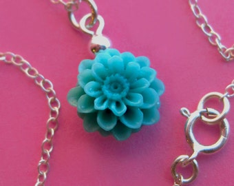 Sterling Silver and Turquoise Resin Dahlia Necklace