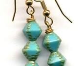 Turquoise Green Earrings, Turquoise earrings, Mod Earrings, Czech Glass Earrings, Jewelry by AnnaArt72