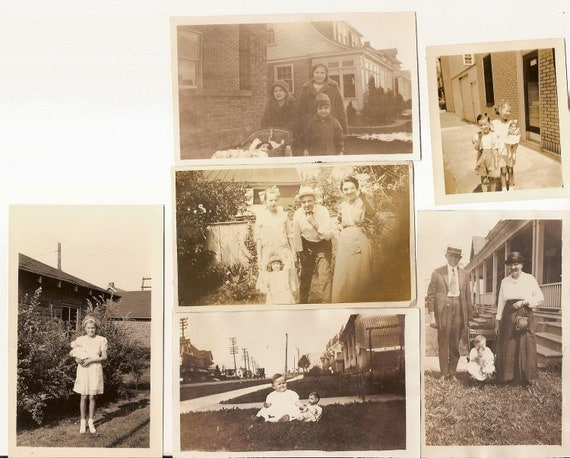 6 vintage photo lot Little Girl with Toy Doll in Yard Child Babydoll