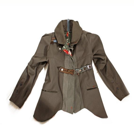 ooak SALE Jacket 40's Militant Boyfriend style Coat Wearable Art Eco Fashion