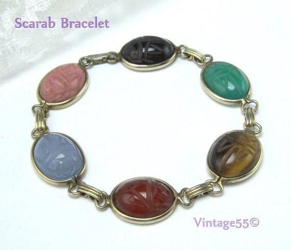 Vintage Bracelet Scarab Carved Agate