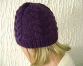 Hand Knitted Purple Cabled Beanie Hat Wool Blend. Reduced Price.