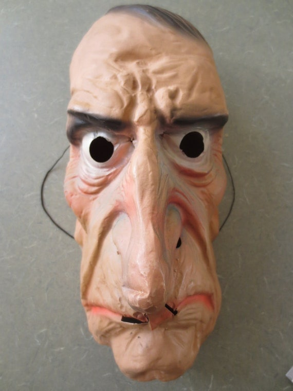 Vintage Halloween Mask, Plastic Old Man Face, Topstone Rubber Company Mask, Keith Ward Design