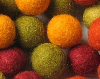2CM Felt Balls/60-Piece - Autumn Mix