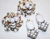 RESERVED White Enamel Kramer and Rhinestone Clip On Earrings