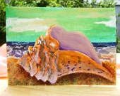 ACEO Watercolor Painting Original Conch Seashell Beach Ocean Seafoam