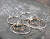 14K Yellow Gold and Sterling Silver Drop Earrings - Rustic Circle Earring - Pierced Earrings - Mixed Metal Earring - Stud Earrings