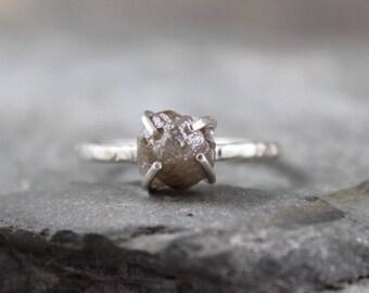 Rough Diamond Ring - Raw Uncut Diamond - Sterling Silver Gemstone Ring - Engagement Ring - Stacking Rings - April Birthstone  - 2 Carat
