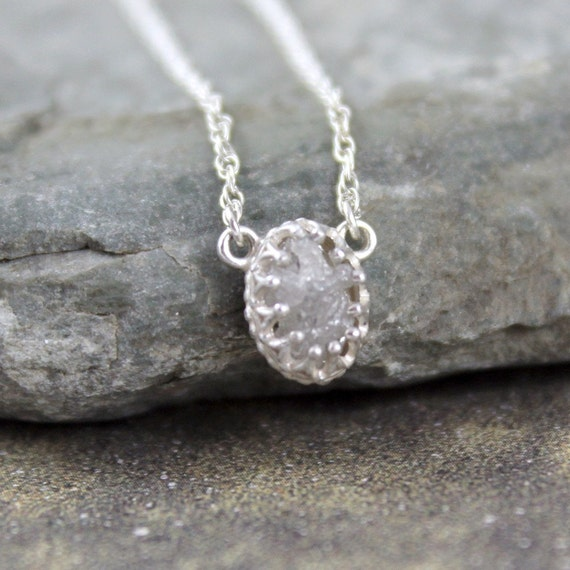 Natural Rough Diamond and Sterling Silver Necklace - Antique Look - Rustic Oval Shape - Diamond in the Rough Pendant