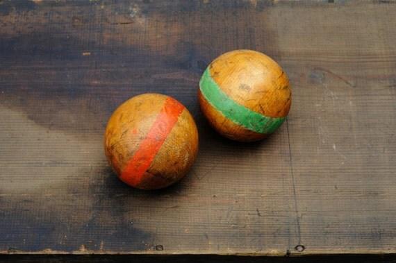 Vintage Croquet Wooden Balls