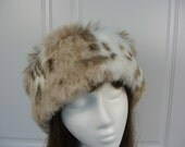 FAUX FUR Adult HAT with luscious Snow Leopard faux fur, Women's Fur Hat, Women's Faux  Fur Hat
