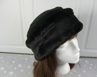 Rich Black Beaver FAUX FUR HAT, Pillbox Style Hat, Women's Winter Fur Hat, Black Fur Hat