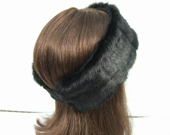 Women's Faux Fur HEADBAND, Fur Headwrap, Ear Warmer, Head Warmer, Black Mink Fur Headband