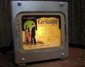 OLD MOVIE Go Straight - Vintage magic lantern glass slide light box