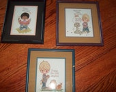Lot of 3 Precious Moments Counted Cross Stitch Boys in Frames