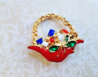 Vintage Red Basket Brooch. Gold Tone. Small Basket Pin. Holiday. Christmas. 1980s. Dainty. Small Brooch. Red. Blue. Green.