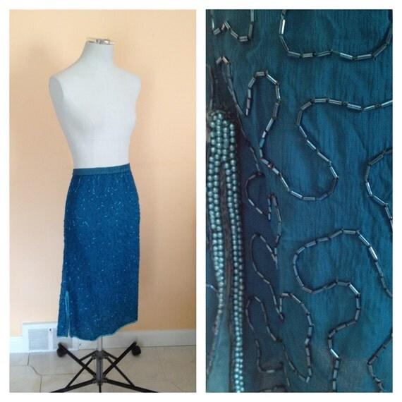 Vintage Teal Beaded Skirt. Long Skirt. Formal. Evening. Mermaid. Blue. Wedding. Silk Skirt. 1980s. Detailed Beaded Skirt. Elastic Waist.