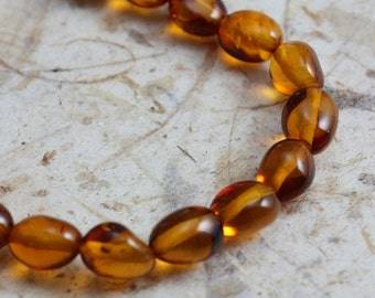 Genuine Amber Beads Oval Nuggets 7mm x 4mm - 20 beads