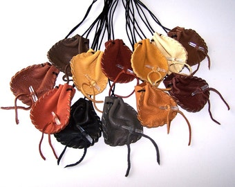 SPRING Special..12 Earth Tone Leather Silk Cord Drawstring Medicine Pouches .. LARGE