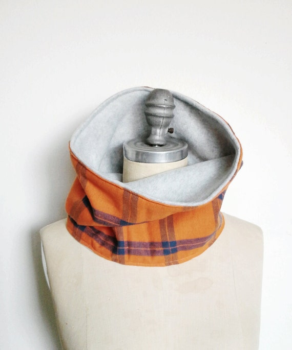 The Cowl Scarf, Neck warmer in Orange and Blue Plaid