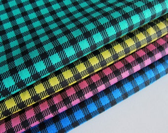 Japanese Cotton Fabric - Gingham - Fat Quarter Bundle of 4 Colors