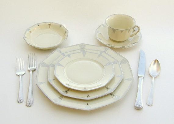 Superb Art Deco Dinnerware for 2, Deauville Community China, Ivory Cream w/ Platinum, Vintage Wedding China