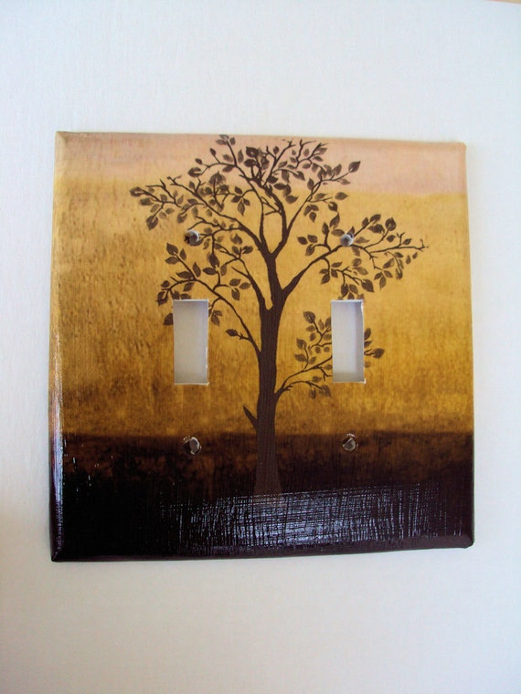Tree of Life Double Light Switch Cover Brown