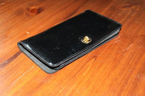 1940s Patent Leather Accordion Pocket Section Purse Clutch Handbag Evening Bag Black