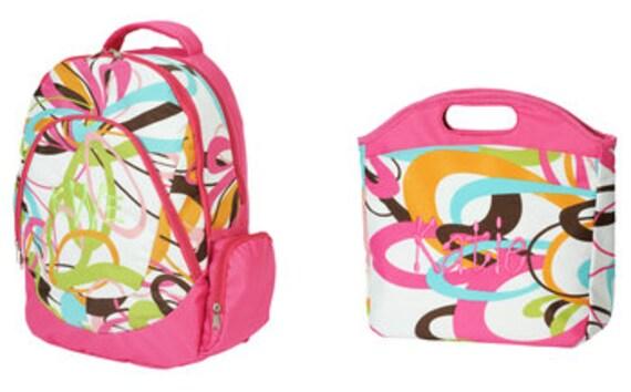 Pink Swirl Backpack Lunchbag Set Monogrammed Personalized
