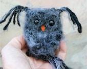 Plush Dark Gray Baby Owl ... knit fuzzy ecofriendly felt wool owl toy (woolcrazy)