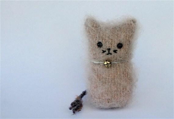 Plush Gray Pink Kitty Kids Toy Felt mohair Wool Stuffed Animal Waldorf Kitten ... (woolcrazy)