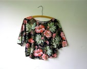 vintage 80s cotton floral cropped belly top