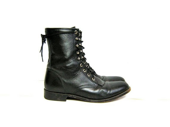 vintage 80s black leather Justin lace up western ankle boots
