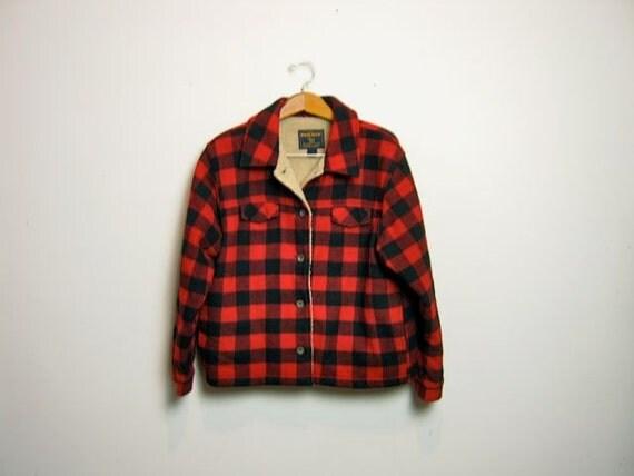 vintage 90s red black wool checkered coat // lumberjack