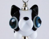 Adorable Boston Terrier Lampwork Glass Necklace and Cell Charm