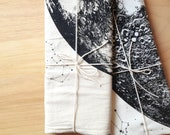 Large Full Moon print Towel, lunar hand printed in Portland reusable cloth space stars and animal constellations luna bright white black