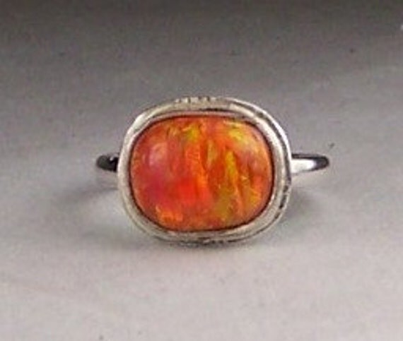 Lab Opal Mexican Fire Orange Sterling Silver Ring Size 5.5  Free US Shipping