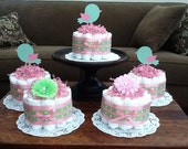 Pink and Green bird diaper cakes Baby Shower centerpieces different colors and sizes available too