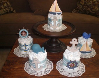 Beach Nautical Sailing Baby Shower Centerpiece Diaper Cakes other colors and sizes too